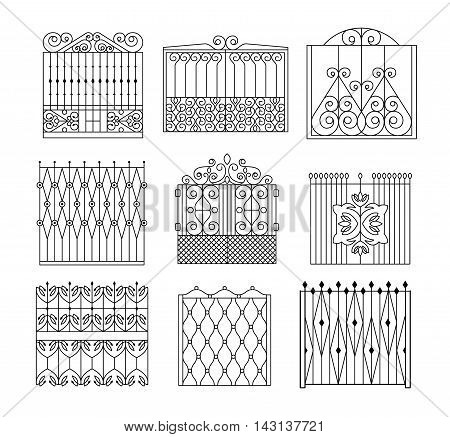 Metal Grid Fencing Set Of Different Designs. Forged Iron Lattice Park Fence Black And White Vector Template Collection.
