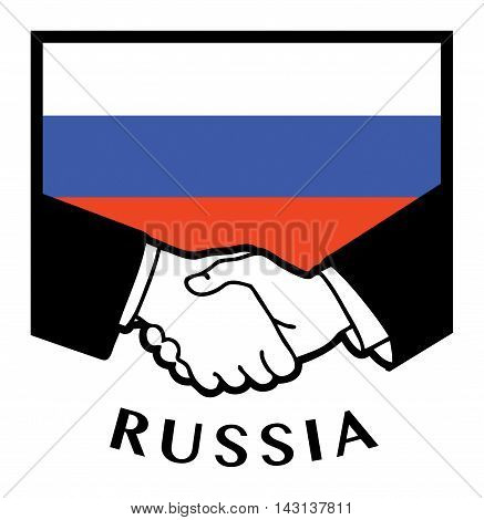Russia flag and business handshake, vector illustration