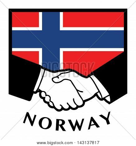 Norway flag and business handshake, vector illustration