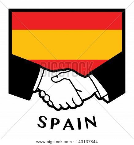 Spain flag and business handshake, vector illustration