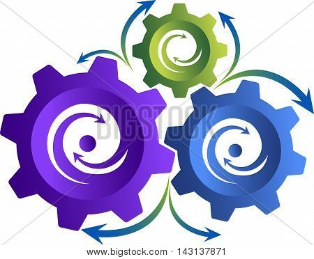 Illustration art of a gear logo with isolated background