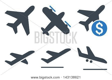 Aviation vector icons. Icon style is bicolor smooth blue flat symbols with rounded angles on a white background.