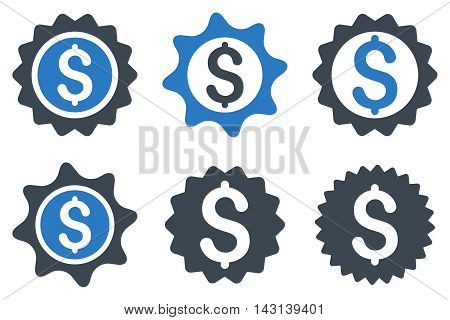 Bank Seal vector icons. Icon style is bicolor smooth blue flat symbols with rounded angles on a white background.