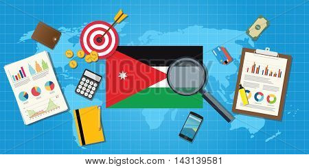 jordan middle east economy economic condition country with graph chart and finance tools vector graphic illustration