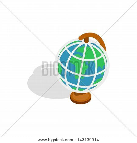 Terrestrial globe icon in isometric 3d style on a white background
