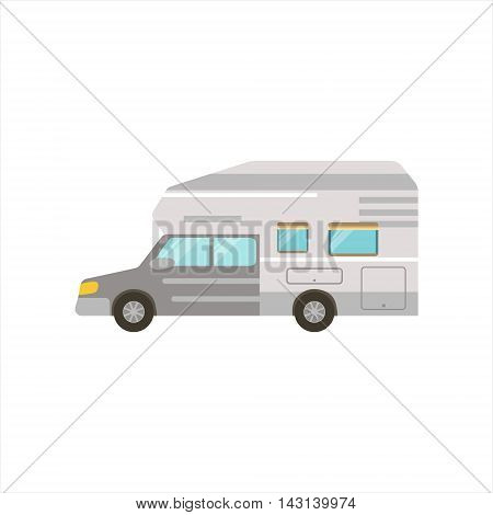 Grey Stripy Travel Van Icon. Family Motorhome Flat Colorful Car. Microbus For Family Vacation Isolated Illustration.
