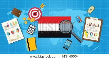 yemen yaman economy economic condition country with graph chart and finance tools vector graphic illustration