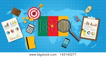cameroon africa economy economic condition country with graph chart and finance tools vector graphic illustration
