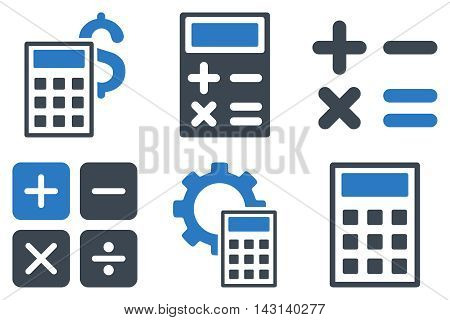 Calculator vector icons. Icon style is bicolor smooth blue flat symbols with rounded angles on a white background.