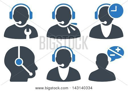 Call Center Operator vector icons. Icon style is bicolor smooth blue flat symbols with rounded angles on a white background.