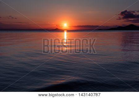 Sunset in the Mar Menor, La Manga. Spanish coast