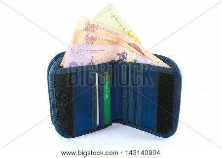 money of wallet isolate on white background