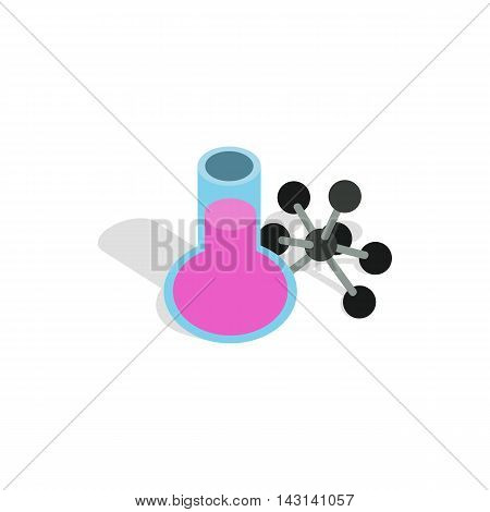 Test flask and molecule structure icon in isometric 3d style on a white background