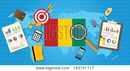 republic of guinea economy economic condition country with graph chart and finance tools vector graphic illustration