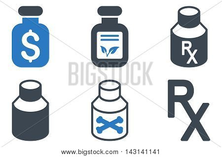 Drugs Vial vector icons. Icon style is bicolor smooth blue flat symbols with rounded angles on a white background.