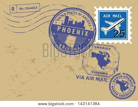 Grunge rubber post stamps set with name of Arizona, Phoenix, vector illustration