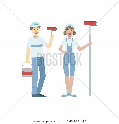 Two Volunteers With Painting Rolls Flat Illustration Isolated On White Background. Simplified Cartoon Character