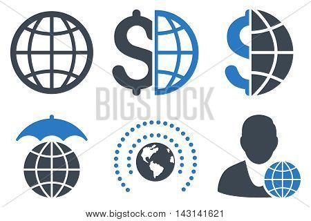 Global Business vector icons. Icon style is bicolor smooth blue flat symbols with rounded angles on a white background.