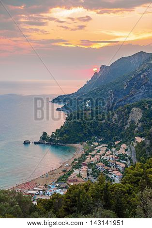 Glifada Village At Sunset, Corfu, Greece