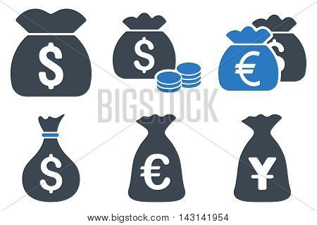 Money Bag vector icons. Icon style is bicolor smooth blue flat symbols with rounded angles on a white background.