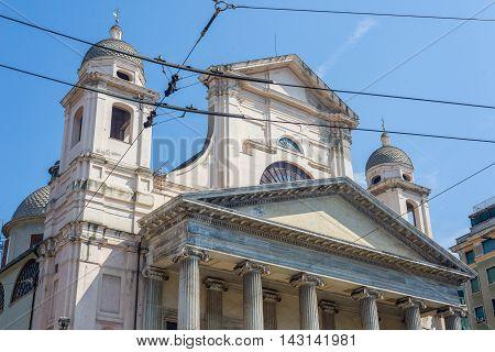 Basilica Della Santissima Annunziata Del Vastato Of Genova. Ital