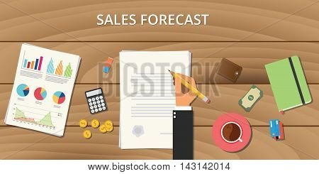 sales forecast illustration with wooden table with graph chart money paper document and business man sign with pencil
