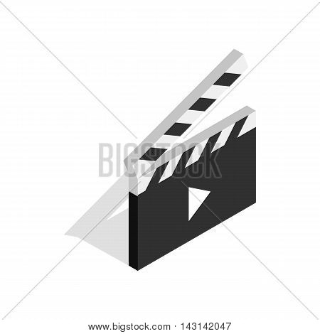 Clapperboard open with play button icon in isometric 3d style on a white background