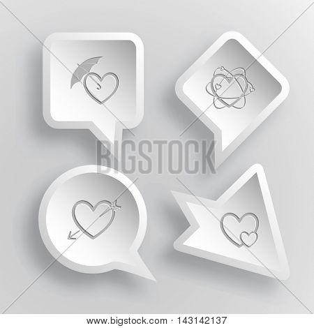 4 images: protection love, atomic heart, heart and arrow, careful heart. Heart shape set. Paper stickers. Vector illustration icons.