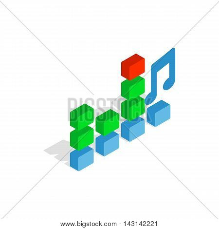 Equalizer scale icon in isometric 3d style on a white background
