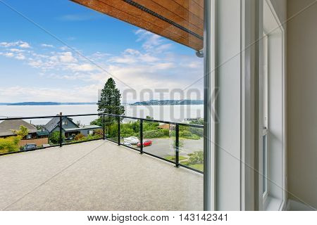 Unfurnished And Empty Balcony With Perfect Water View