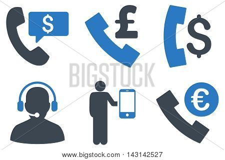 Phone Order vector icons. Icon style is bicolor smooth blue flat symbols with rounded angles on a white background.