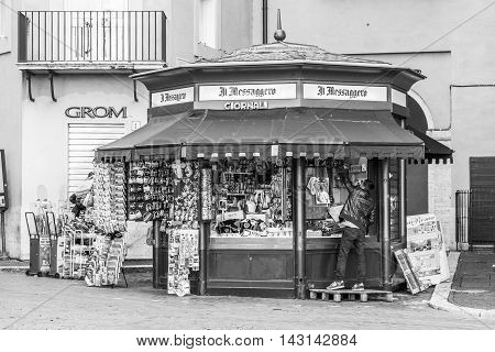 Italy, Rome, 04 May 2014 - The newsstand in Piazza Navona opens at 6 am