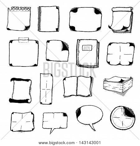 Illustration of a set of black and white hand drawn communication and office elements with sheets icons books speech bubbles and note pads