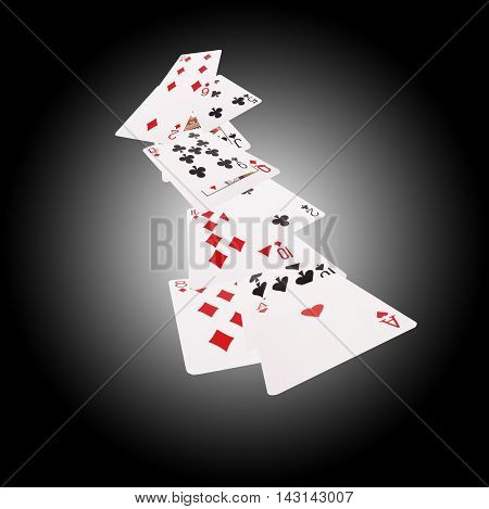 Set of playing cards for poker and casino. Isolated on white-black background.