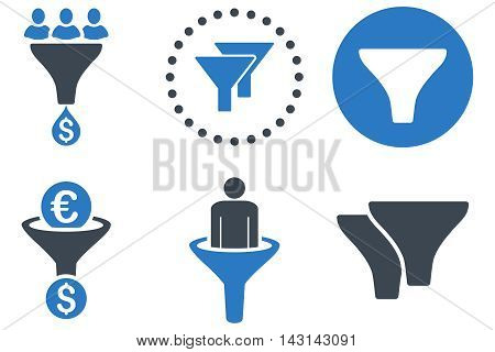 Sales Filter vector icons. Icon style is bicolor smooth blue flat symbols with rounded angles on a white background.
