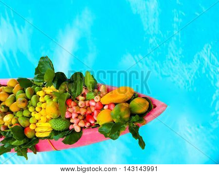 The exotic tropical fruits on the boat canoe against blue water