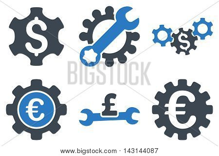 Financial Settings vector icons. Icon style is bicolor smooth blue flat symbols with rounded angles on a white background.