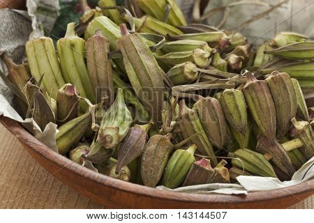 Fresh Egyptian okra in a bowl