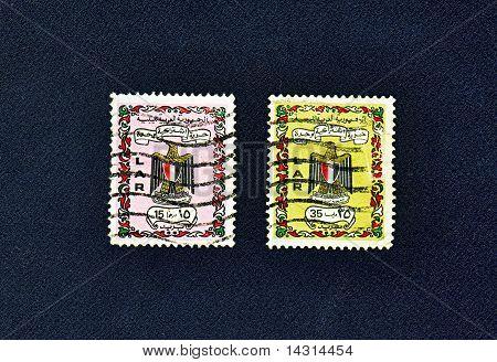 Zwei verwendet Briefmarken von Libyen