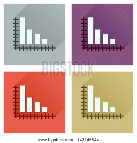Concept of flat icons with long  shadow economic graph
