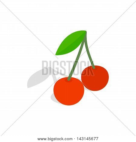 Two cherries with the leaf icon in isometric 3d style on a white background