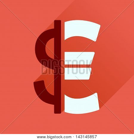 Flat icon with long  shadow Euro dollar