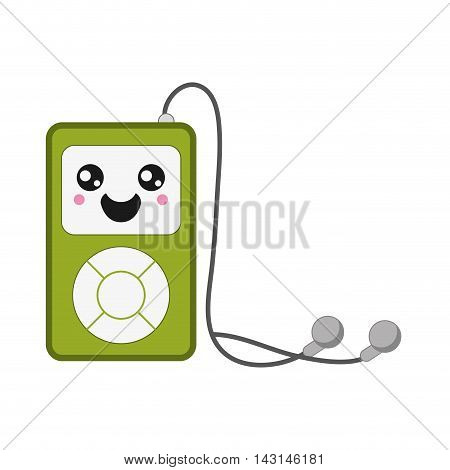 flat design kawaii mp3 player icon vector illustration