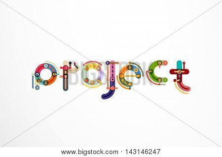 Project word letter banner. Thin line flat design banners for website, mobile website, presentation or printing