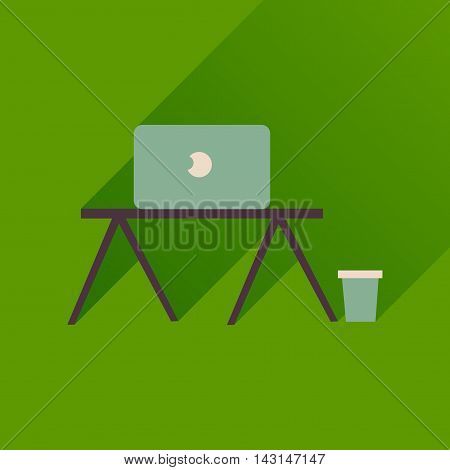 Flat icon with long  shadow laptop table