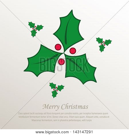 christmas holly green, natural paper 3D vector