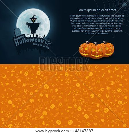 Happy Halloween Trick or Treat Vector Postcard. Moon, Text, Bat, Scarecrow, Monument, Pumpkin, Web, Spider.