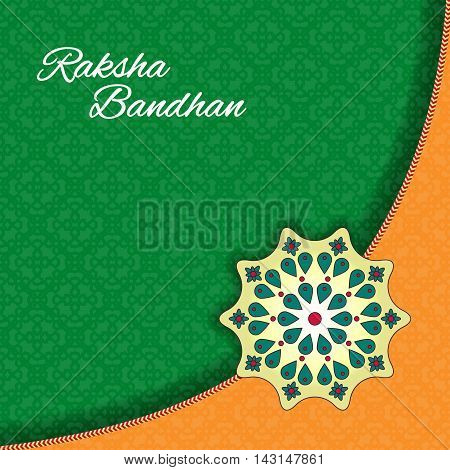 Raksha Bandhan celebration Background. Traditional Rakhi design decorated greeting card for Indian Festival of brother and sister love.