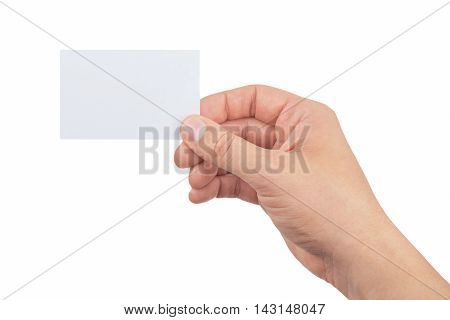 hand of man holding paper card isolated on white background business card showing