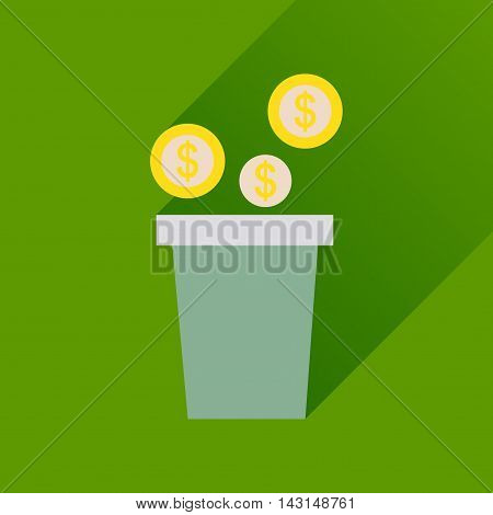 Flat icon with long  shadow pot of coins